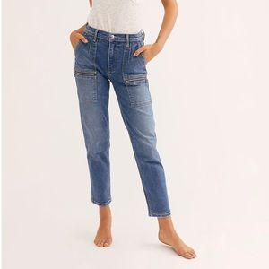 Free People Sz 29 Straight Cargo Jeans Medium Wash